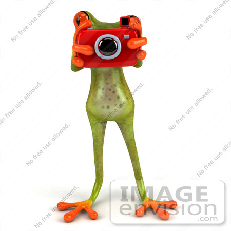 #49537 Royalty-Free (RF) Illustration Of A 3d Red Eyed Tree Frog Using A Red Camera by Julos