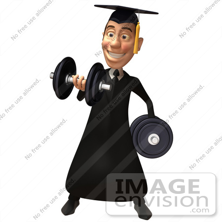 #49690 Royalty-Free (RF) Illustration Of A 3d College Graduate Weight Lifting - Version 1 by Julos