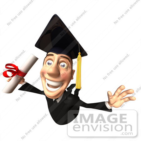#49699 Royalty-Free (RF) Illustration Of A 3d College Graduate Flying With A Rolled Diploma - Version 1 by Julos