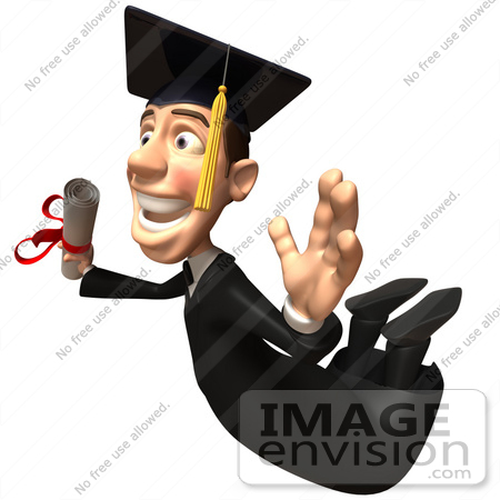 #49700 Royalty-Free (RF) Illustration Of A 3d College Graduate Flying With A Rolled Diploma - Version 2 by Julos