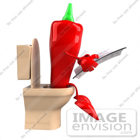 #50735 Royalty-Free (RF) Illustration Of A 3d Red Hot Chili Pepper Mascot Reading On A Toilet - Version 2 by Julos