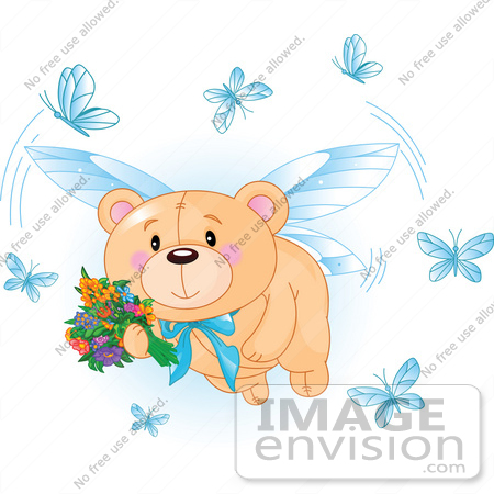 #56188 Royalty-Free (RF) Clip Art Of A Teddy Bear Fairy Flying With Flowers And Blue Butterflies by pushkin