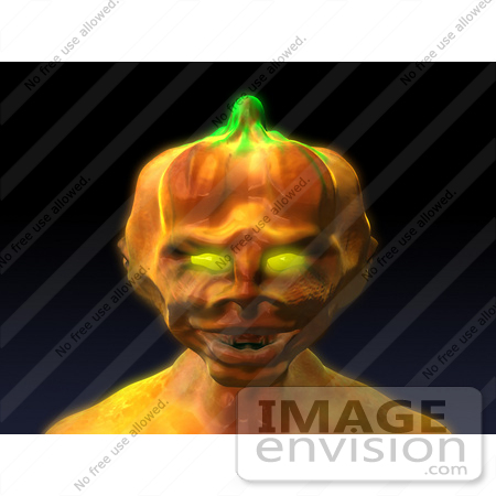 #60758 Royalty-Free (RF) Illustration Of A 3d Pumpkin Monster Facing Front - Version 2 by Julos