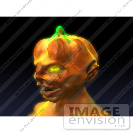 #60759 Royalty-Free (RF) Illustration Of A 3d Pumpkin Monster Facing Left by Julos