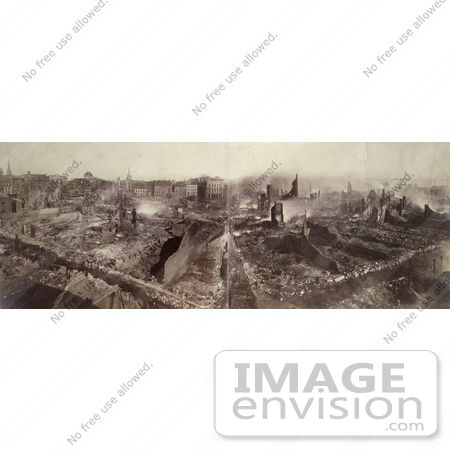 #61044 Royalty-Free Historical Stock Photo of a Sepia View Of Boston, Massachusetts Following The Fire, November 9th And 10th in 1872 by JVPD