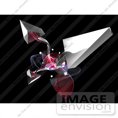 #61289 Royalty-Free (RF) Illustration Of A Cluster Of Bursting Silver 3d Arrows And Fractals by Julos