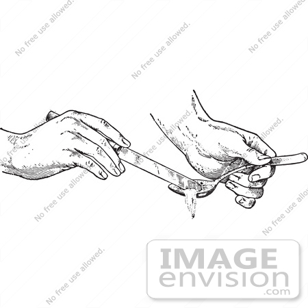 #61345 Retro Clipart Of Hands Removing Half A Spoon Full Of An Ingredient With A Knife In Black And White - Royalty Free Vector Illustration by JVPD
