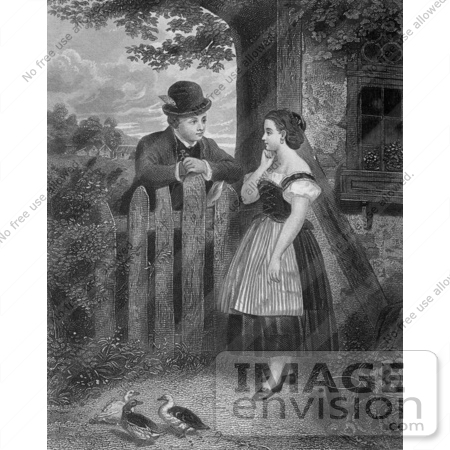 #61438 Retro Clipart Of A Young Couple Flirting At A Fence With Ducks In The Yard, In Black And White - Royalty Free Illustration by JVPD