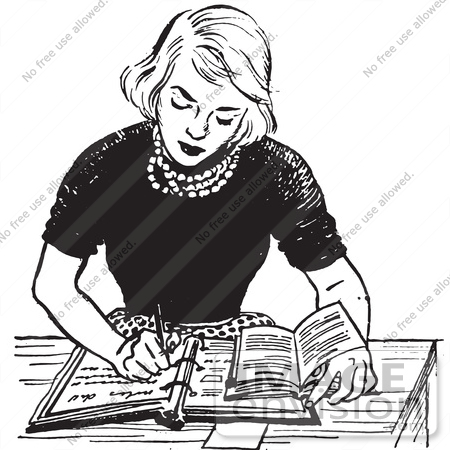 #61443 Retro Clipart Of A Vintage Teen Girl Doing Homework At A Desk In Black And White - Royalty Free Vector Illustration by JVPD