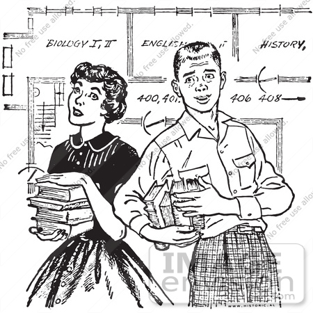#61449 Retro Clipart Of A Vintage Teenage Couple With Books And School Blueprints  In Black And White - Royalty Free Vector Illustration by JVPD