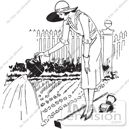 #61601 Clipart Of A Retro Woman Watering A Garden In Black And White - Royalty Free Vector Illustration by JVPD