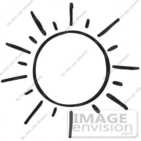 Clipart Of A Shining Sun In Black And White - Royalty Free ...