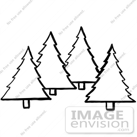#61924 Clipart Of Evergreen Trees In Black And White - Royalty Free Vector Illustration by JVPD