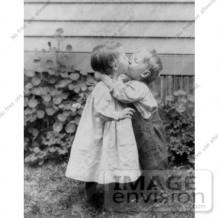 Stock Image Of A Little Boy And Girl Kissing 7455 By Jvpd