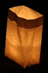 Candle Lit in a Bag During a Candlelight Vigil