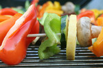 Veggies on Skewers on a BBQ