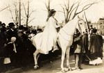 Photograph of Lawyer Inez Boissevain on a White Horse