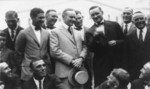 Walter Johnson Showing President Calvin Coolidge How he Pitches His Curve Ball