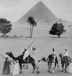 Men and Camels Near the Great Pyramid