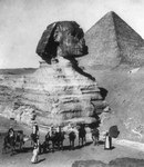 Partially Excavated Great Sphinx and Pyramids
