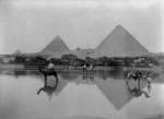 Flooded Village Near the Egyptian Pyramids