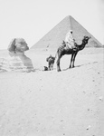 Men With Camels Near the Great Sphinx and Pyramids