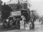 Confiscated Moonshine and Wrecked Car During Prohibition