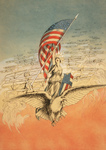 Columbia on an Eagle, Holding Flag, Followed by Airplanes