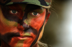 Female Soldier With Face Paint