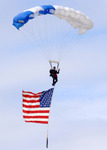 Parachuting With an American Flag