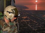 Pararescueman Looking for Survivors After Hurricane Katrina