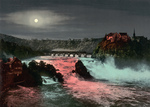 Bridge, Rhine Falls and Laufen Castle at Night