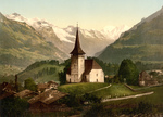 Church and Swiss Alps, Frutigen, Switzerland