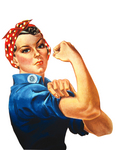 Picture of Rosie The Riveter Flexing Her Arm Muscles, We Can Do It!