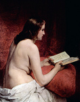 Photo of a Beautiful Nude Woman, Odalisque, Reading a Book by Francesco Hayez