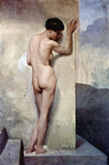 Photo of a Nude Woman From Behind, Against a Stone Wall by Francesco Hayez