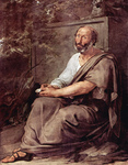 Photo of Greek Philosopher Aristotle Seated Against a Wall by Francesco Hayez