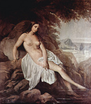 Photo of a Nude Woman Reclined on a Rock, Dipping Her Feet in Water, by Francesco Hayez