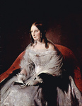 Photo of the Princess of Sant Antimo in a Gown and Gloves, Holding a Closed Fan, by Francesco Hayez