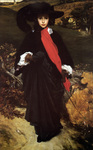 Photo of a Woman in Black and Red Walking Outdoors, May Sartoris by Frederic Lord Leighton