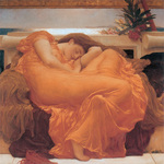 Picture of a Woman Sleeping in an Orange Gown Flaming June by Frederic Lord Leighton