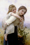 Photo of a Girl Carrying Her Little Sister on Her Back, Not Too Much To Carry by William-Adolphe Bouguereau
