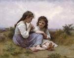 Photo of Two Little Girls Playing an Instrument, a Childhood Idyll by William-Adolphe Bouguereau