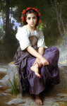 Photo of a Little Girl With Flowers in Her Hair, Seated by a Stream, At the Edge of the Brook by William-Adolphe Bouguereau