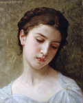 Photo of a Sad Young Woman, Head of a Young Girl, by William-Adolphe Bouguereau