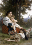 Photo of a Woman and Her Two Children Resting by Trees, Rest by William-Adolphe Bouguereau