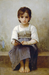 Photo of a Little Girl With an Open Book, the Difficult Lesson by William-Adolphe Bouguereau