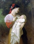 Photo of a Young Mother Holding Her Baby, Maternal Admiration by William-Adolphe Bouguereau