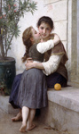 Photo of a Girl Kissing Her Mom's Cheek, a Little Coaxing, by William-Adolphe Bouguereau
