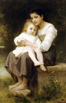 Photo of a Girl Holding Her Little Sister, Big Sis by William-Adolphe Bouguereau